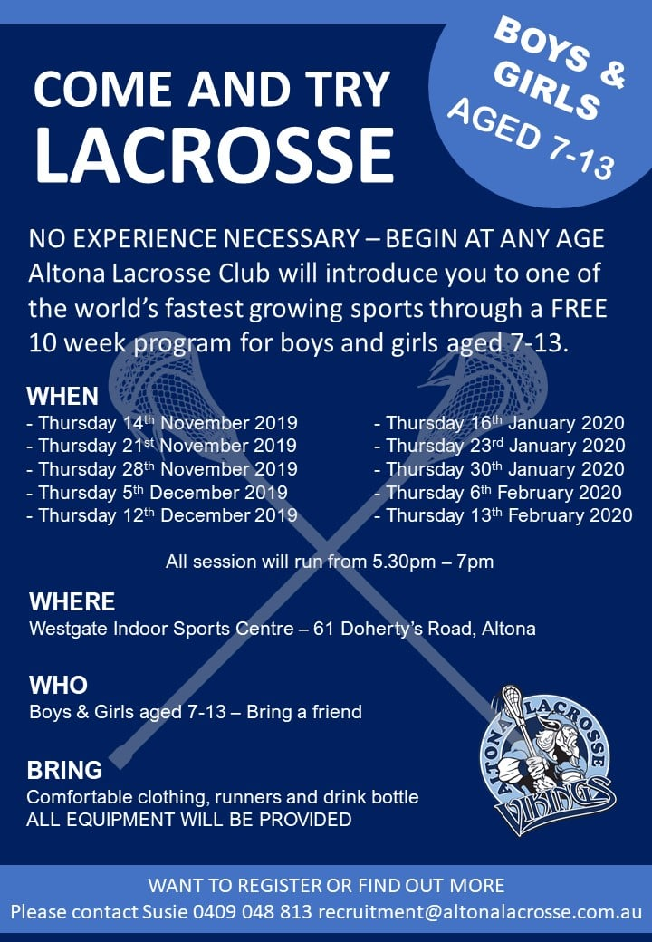 Altona lacrosse training schedule